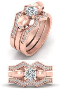 Diamond Skull wedding ring band set