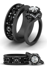 His and her skull wedding rings
