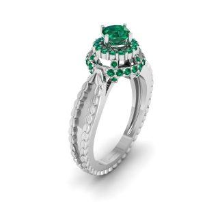 Cushion Cut Halo Green Emerald Engagement Ring