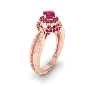 Cushion Cut Pink Ruby Engagement Ring Womens