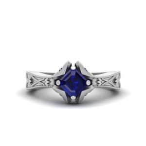 Asscher Cut Blue Sapphire Engagement Ring