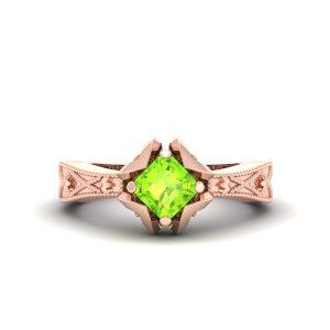 Asscher Cut Peridot Rose Gold Engagement Ring