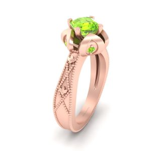 Asscher Cut Peridot Rose Gold Engagement Ring