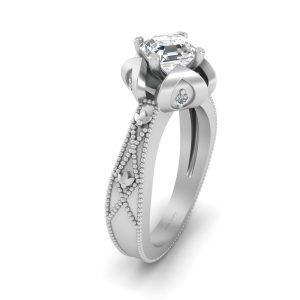 Flower Petal Art Nouveau Bridal Wedding Ring