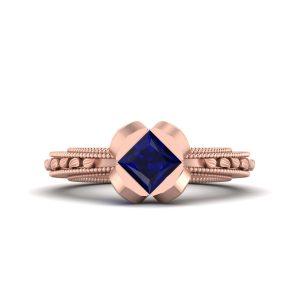 Art Nouveau Rose Gold Bridal Wedding Ring