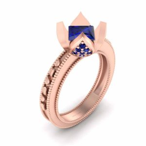 Art Nouveau Rose Gold Bridal Wedding Ring