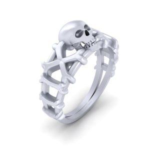 Jolly Roger Skull Crossbones Ring Womens
