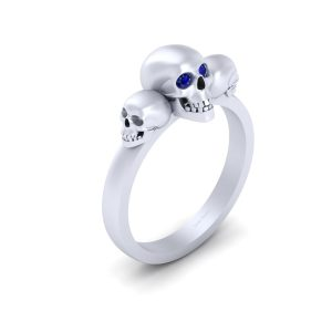 Blue Sapphire Eyes 3 Skull Gothic Engagement Ring