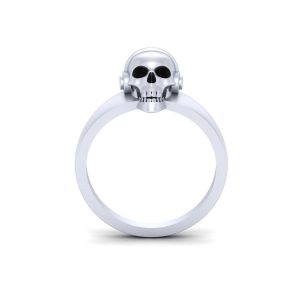 Onyx Black Skull Engagement Ring Unisex Jewelry