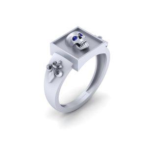 Royal French Flower Blue Sapphire Skull Gothic Ring