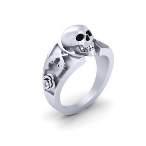 Black Diamond Geeky Gothic Skull Engagement Ring