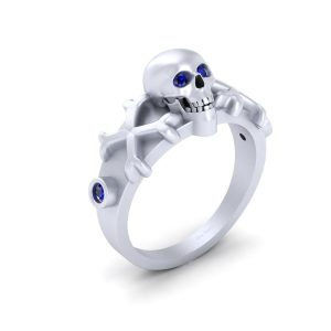 Blue Sapphire Gothic Skull Engagement Ring
