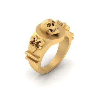 Fleur De Lis Ring Skull Gothic Wedding Ring