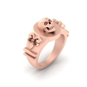 Classic Royal French Flower Fleur De Lis Skull Ring