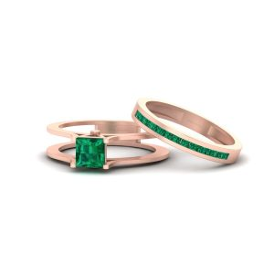 Princess Cut Green Emerald Solitaire Bridal Ring Set