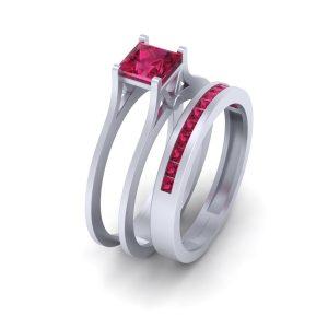 Solitaire Princess Cut Pink Ruby Bridal Wedding Ring