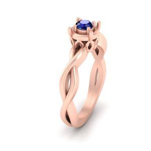 Sapphire Blue Rose Gold Wedding Ring Womens