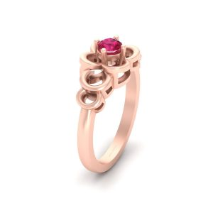 Pink Ruby Rose Gold Engagement Ring Womens