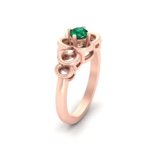 Round Cut Solitaire Green Emerald Wedding Ring
