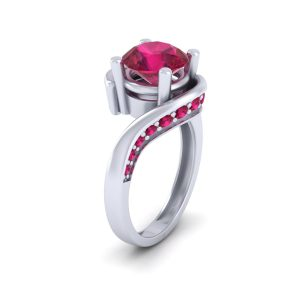 Classic Pink Ruby Bypass Wedding Ring Womens