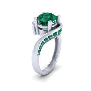 Green Emerald Bypass Engagement Ring Womens