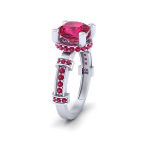 Cushion Cut Pink Ruby Bridal Wedding Ring
