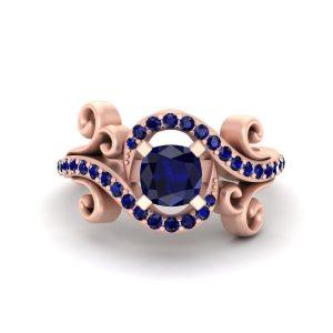 Cushion Cut Sapphire Blue Bridal Wedding Ring