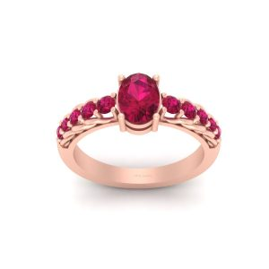 Oval Cut Pink Ruby Bridal Wedding Ring Jewelry