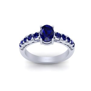 Classic Blue Sapphire Engagement Ring Womens