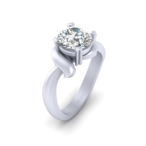 Heart Prong Set Solitaire Diamond Wedding Ring