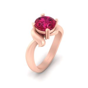 Solitaire Pink Ruby Engagement Ring Womens
