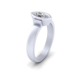 Bezel Set Marquise Cut Diamond Wedding Ring