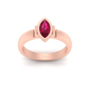 Marquise Cut Pink Ruby Rose Gold Engagement Ring