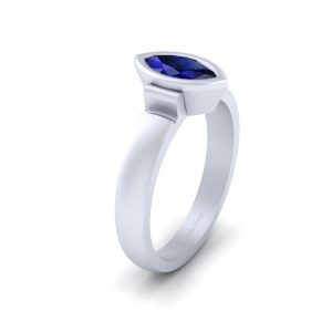 Solitaire Sapphire Blue Bridal Wedding Ring
