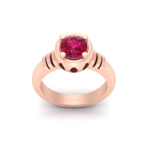 Solitaire Pink Ruby Rose Gold Engagement Ring