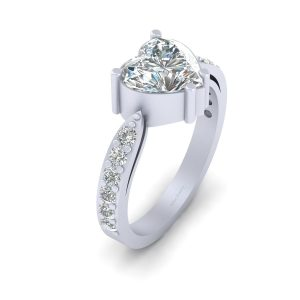 Heart Shape Simulated Diamond Engagement Ring