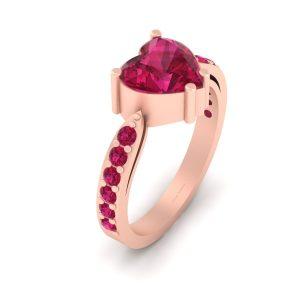 Pretty Pink Ruby Heart Bridal Wedding Ring