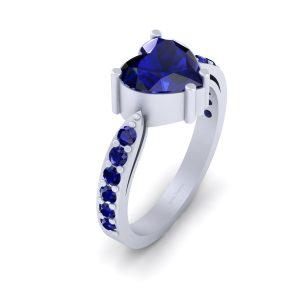 Classic Heart Shape Blue Sapphire Wedding Ring