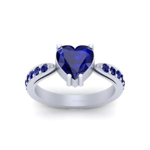 Classic Heart Shape Blue Sapphire Wedding Ring