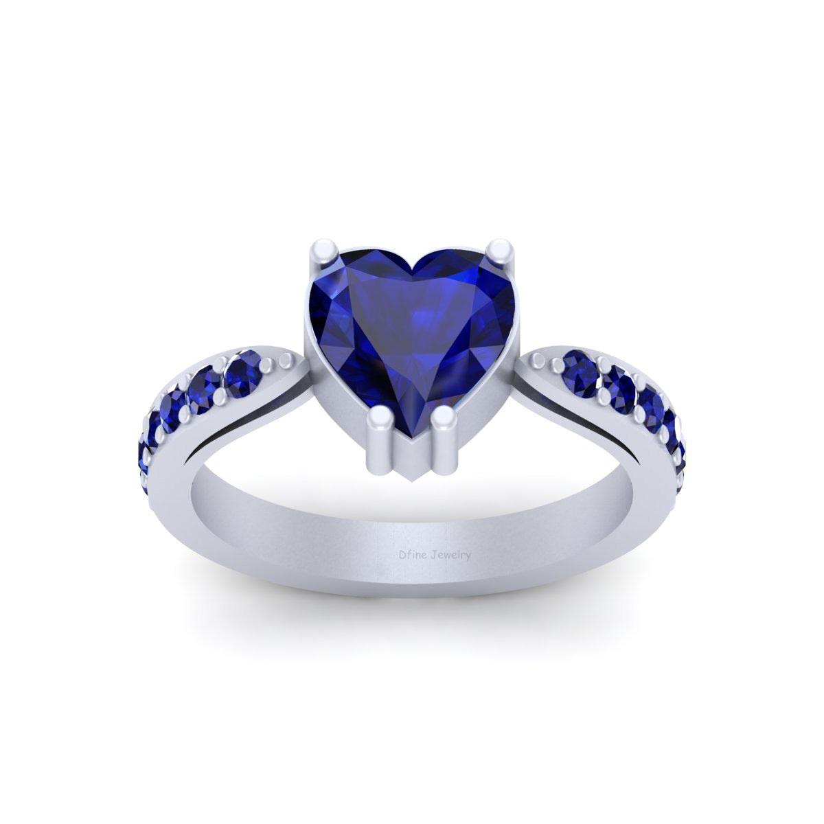 Sapphire Wedding Rings.Classic Heart Shape Blue Sapphire Wedding Ring Free Shipping