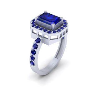 Classic Blue Sapphire Halo Bridal Wedding Ring