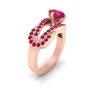 Unique Interlock Design Rose Gold Engagement Ring