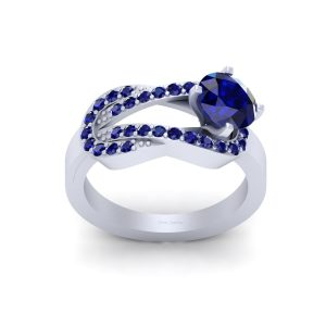 Blue Sapphire Classic Engagement Ring Womens