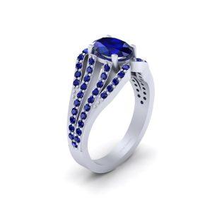 Classic Blue Sapphire Bridal Wedding Ring