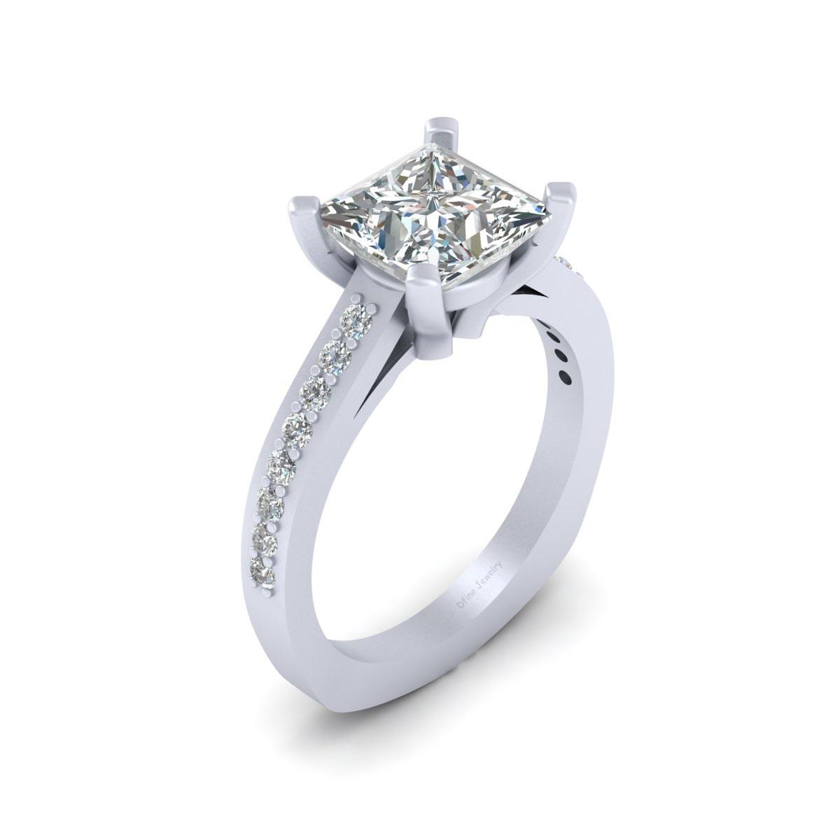 Princess Cut Simulated Diamond Wedding Ring