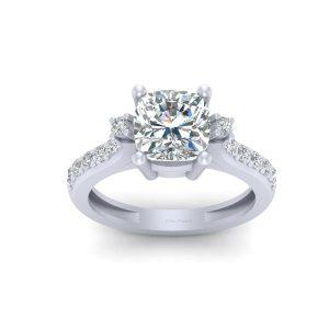 Cushion Cut Simulated Diamond Engagement Ring