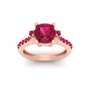 Pretty Pink Ruby Rose Gold Engagement Ring