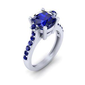 Unique Blue Sapphire Engagement Ring Womens