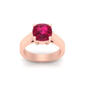 Classic Pink Ruby Engagement Ring Womens