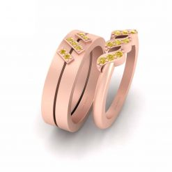 ROSE GOLD ENGAGEMENT RING SET FOR COUPLE